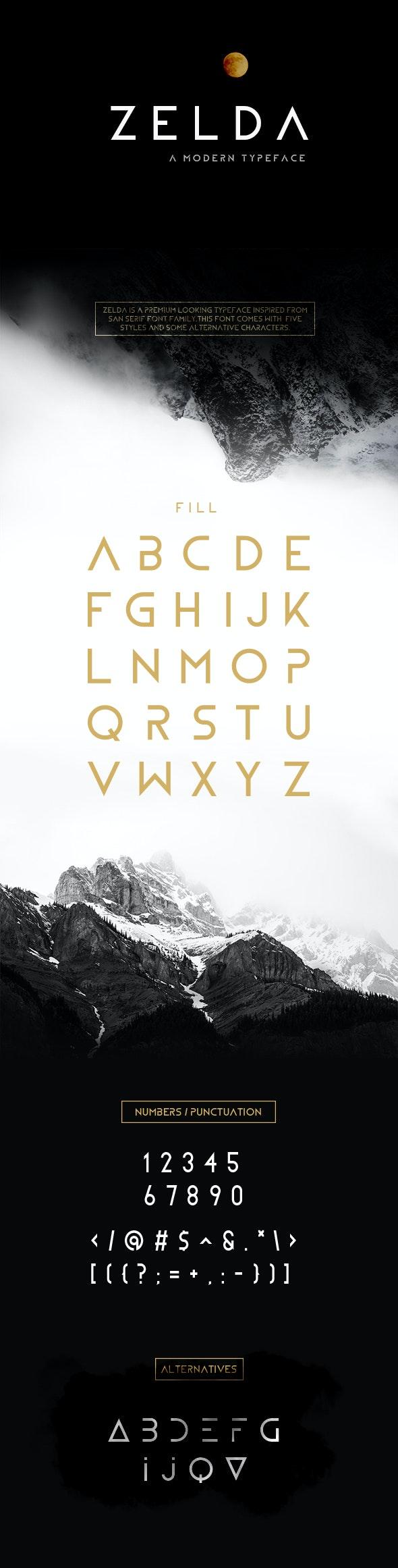 ZELDA Typeface (Fill) - Sans-Serif Fonts