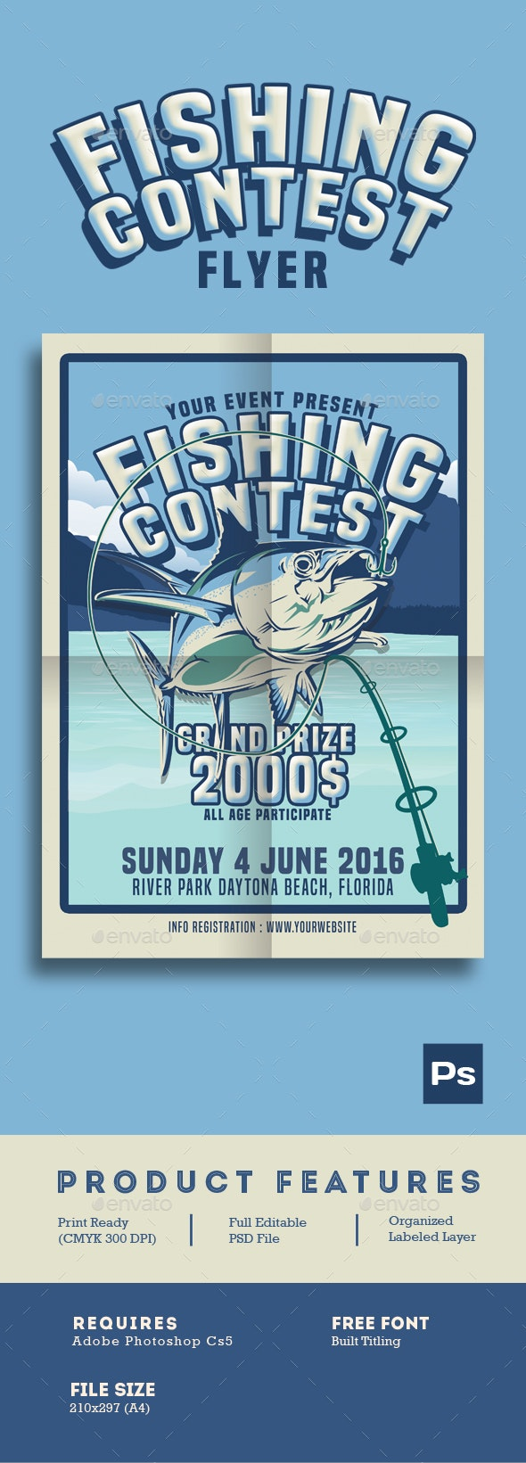 Fishing Contest Flyer - Flyers Print Templates