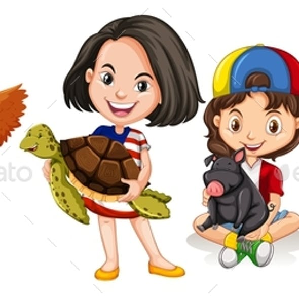 Children with Domestic Animals