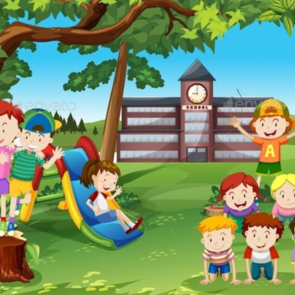 Children Playing in the School Yard