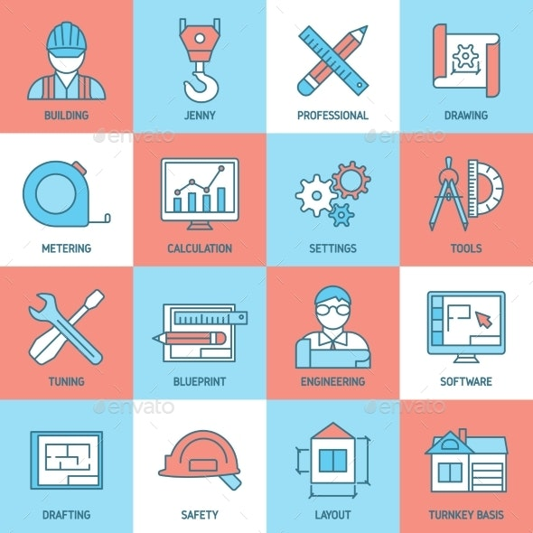 Engineering And Blueprint Icons Set - Business Icons