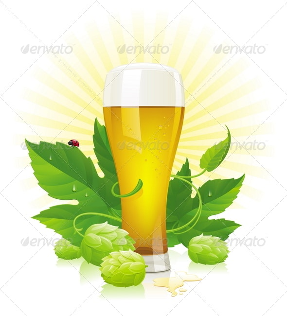 Glass of Beer & Fresh Hop - Food Objects