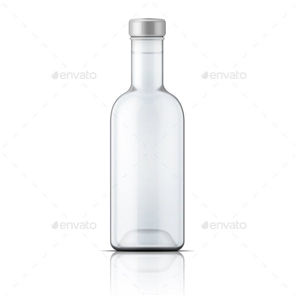 Glass Vodka Bottle with Silver Cap