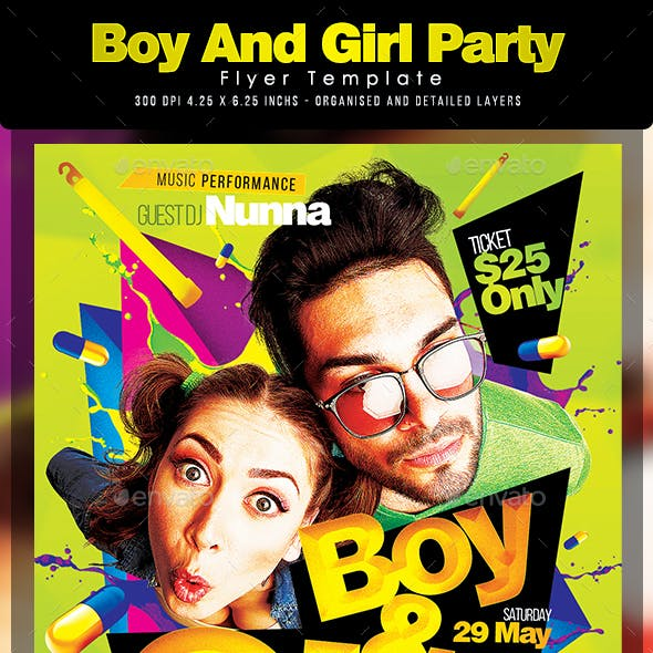 Boy And Girl Party Flyer Template