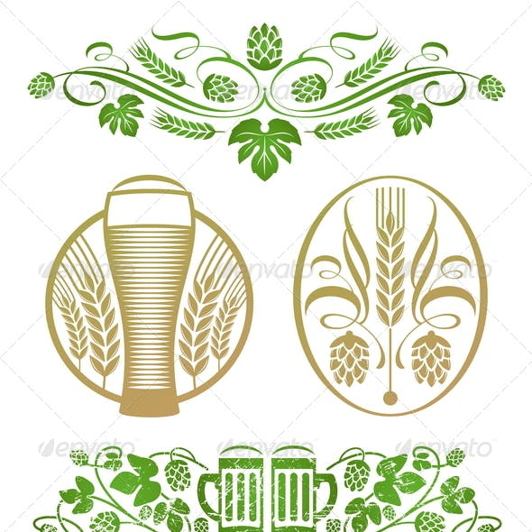 Decorative Elements With Hop, Wheat and Beer