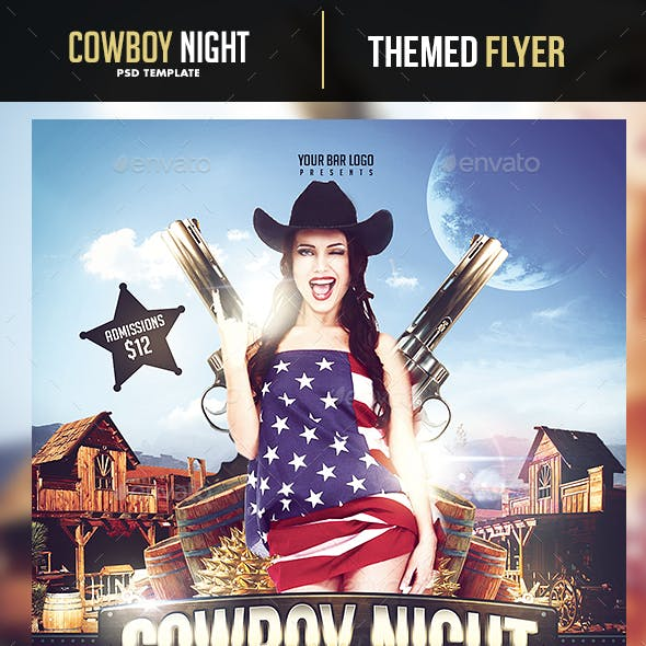 Cowboy Night Flyer Template