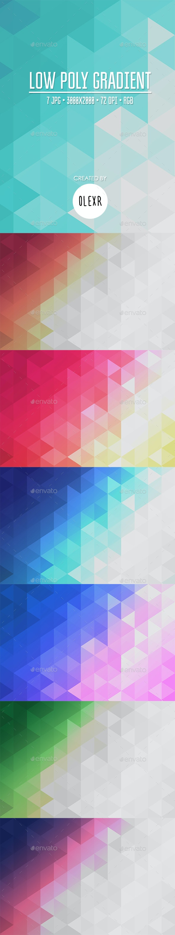 Low Poly Gradient Backgrounds - Abstract Backgrounds