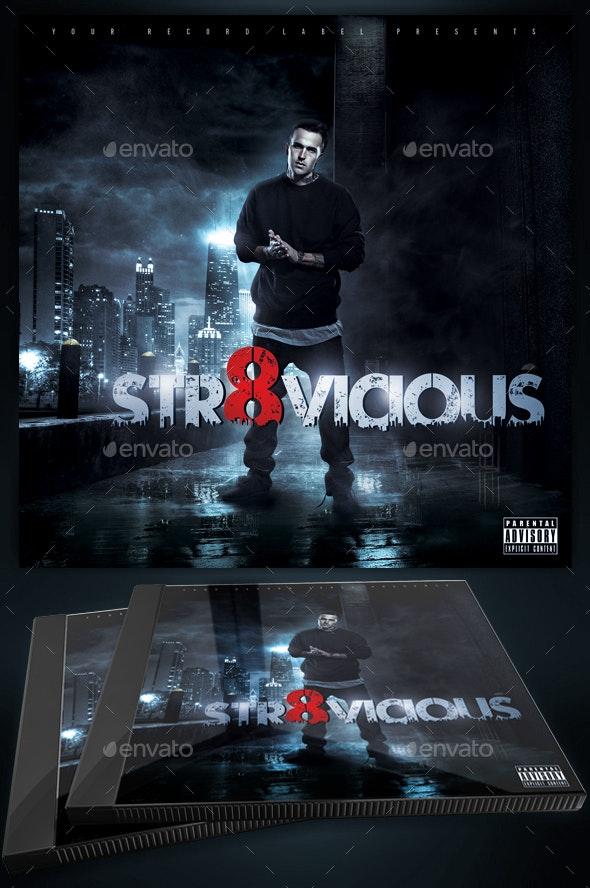 Straight Vicious Mixtape / CD Cover Template - CD & DVD Artwork Print Templates