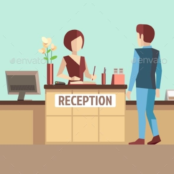 Customer At Reception. Vector Concept In Flat