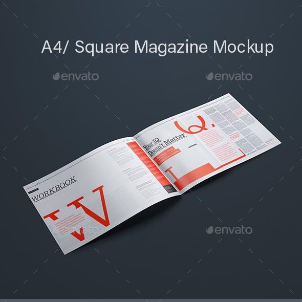 A4 / Square Magazine Mockup