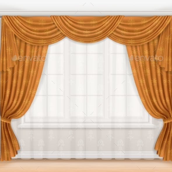 Classic Beige Curtain with Damask Pattern