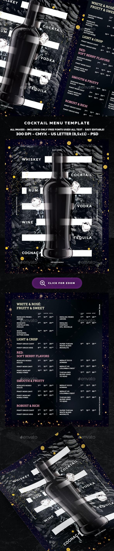 Wine Drinks Menu - Food Menus Print Templates