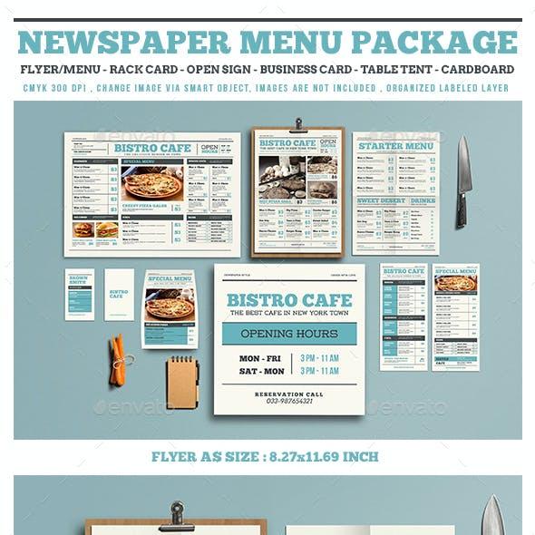 Newspaper Style Menu Package