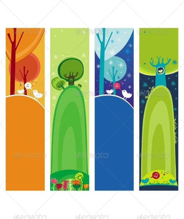 Colorful set of seasonal, natural banners - Nature Conceptual