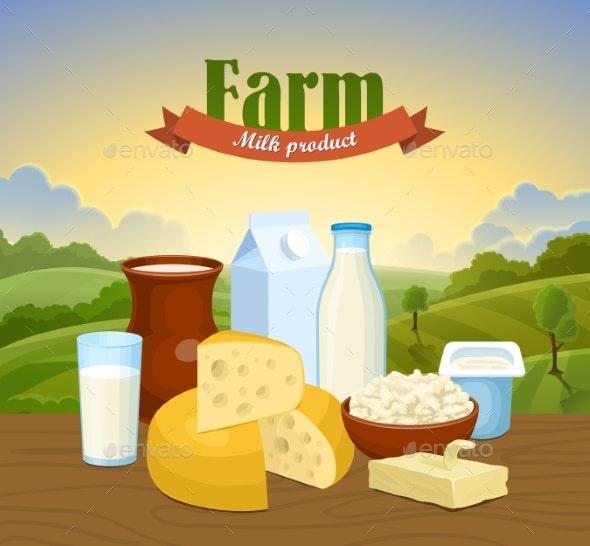 Milk Natural Farm Concept - Miscellaneous Vectors
