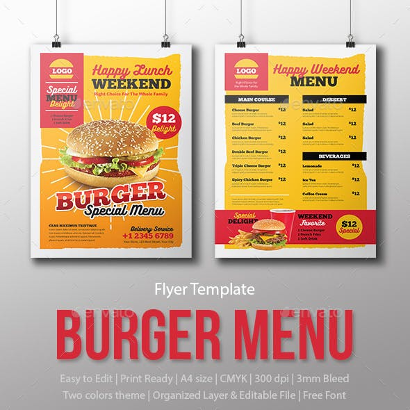 Menu Fast Food - Burger - Template