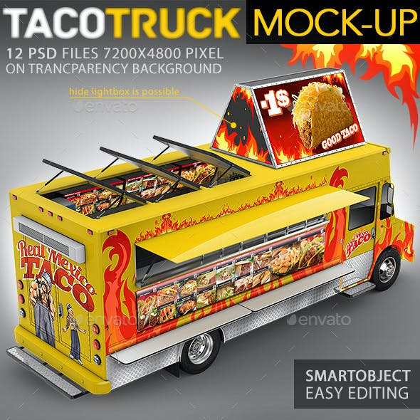 Food Truck, Taco Truck, Step Van Mock-Up