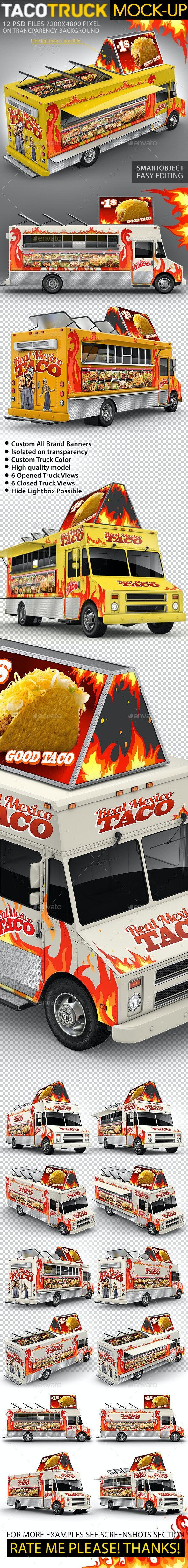 Food Truck, Taco Truck, Step Van Mock-Up - Vehicle Wraps Print