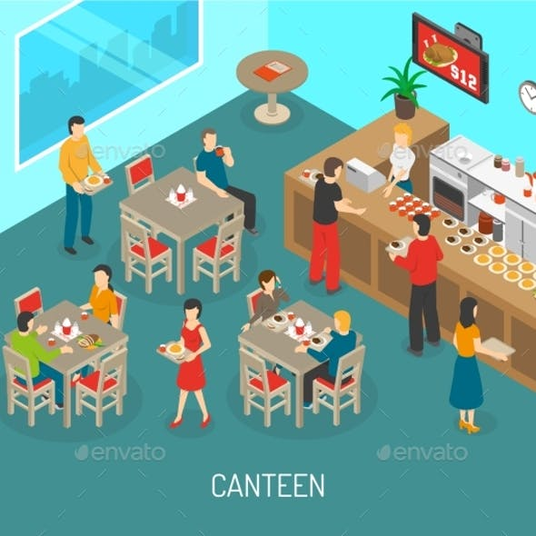 Workplace Canteen Lunch Isometric Poster