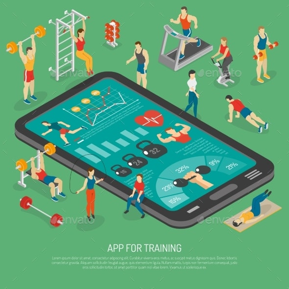 Fitness Smartphone Accessories Apps Isometric - Sports/Activity Conceptual