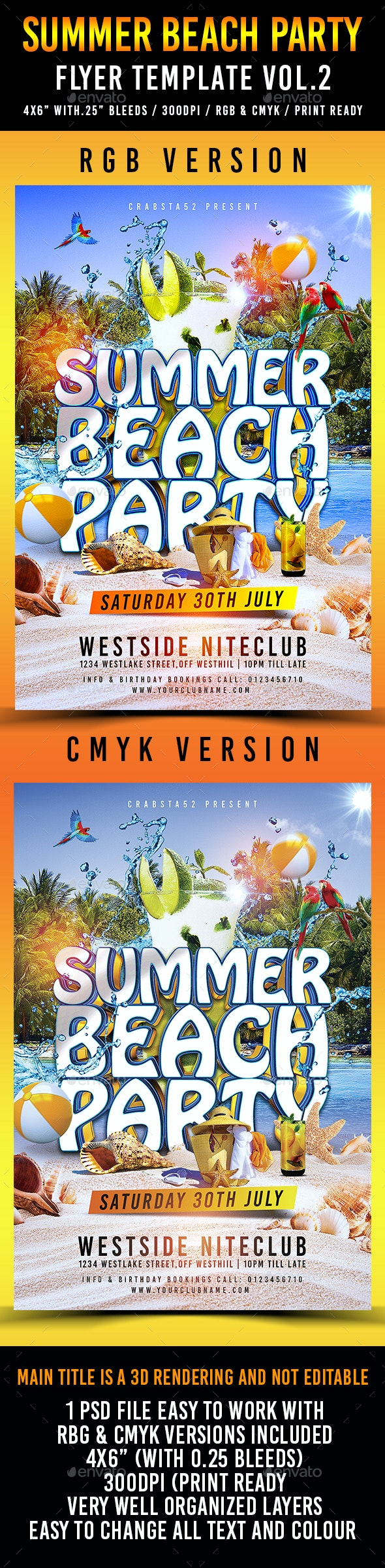 Summer Beach Party Flyer Template Vol.2 - Flyers Print Templates