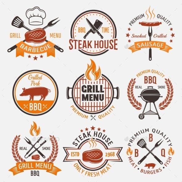 BBQ Retro Style Emblems