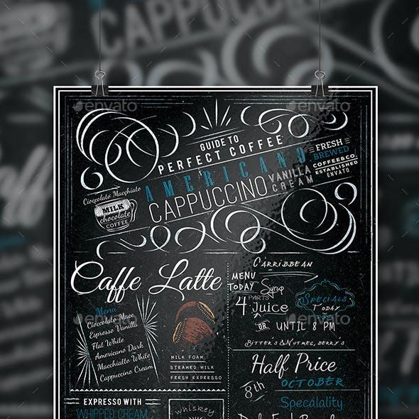 Blackboard Coffee Menu A4 Flyer