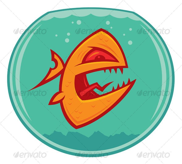 Angry Goldfish Cartoon - Animals Characters