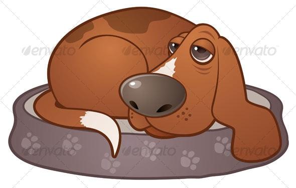 Sleepy Hound Dog - Animals Characters