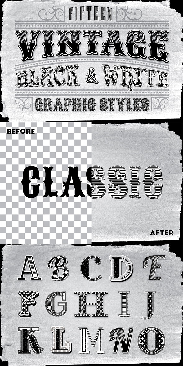 Vintage Black and White Styles - Styles Illustrator