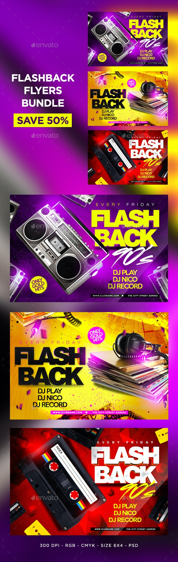 Flashback Flyers Bundle - Clubs & Parties Events
