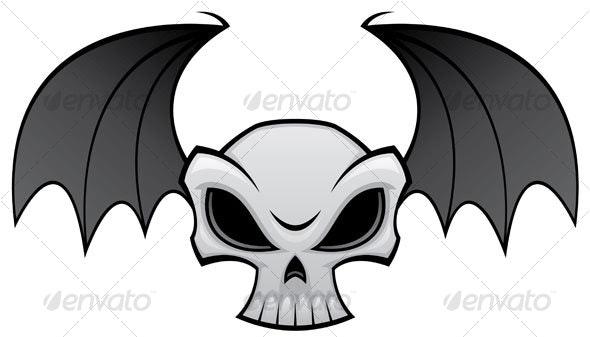 Bat Wing Skull - Tattoos Vectors