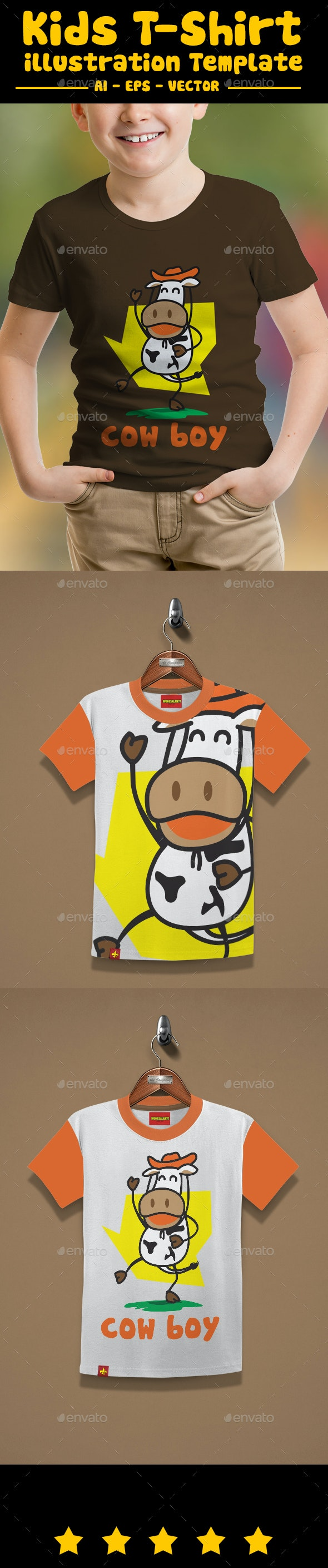 Cow Boy Kids T-shirt Design - T-Shirts