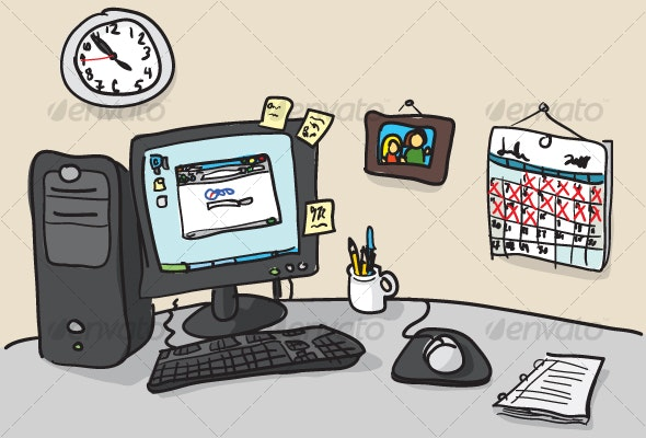 Hand-drawn Desk Illustration - Man-made Objects Objects