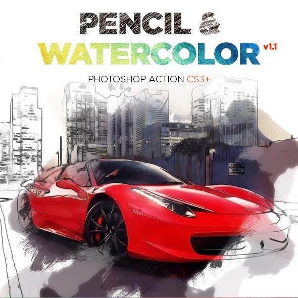 Pencil & Watercolor Photoshop Action CS3+