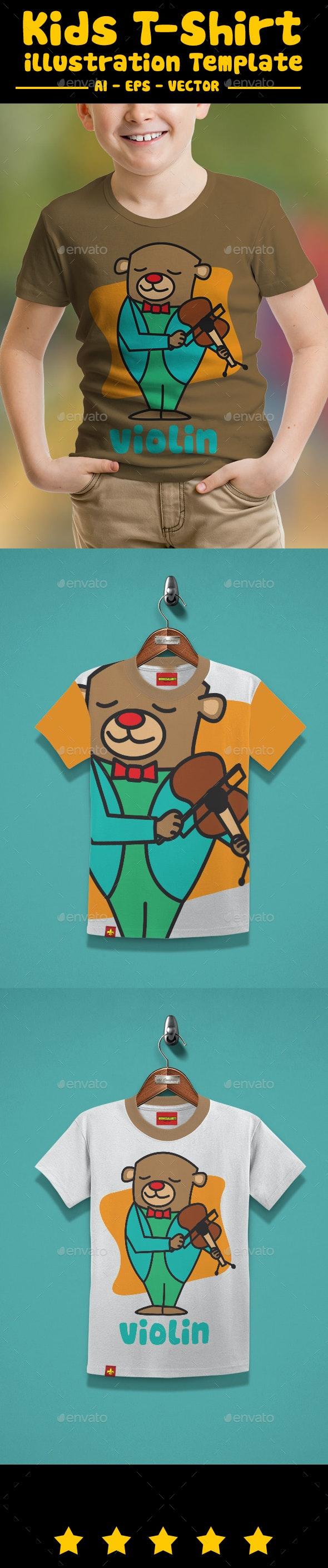 Bear with Violin Kids T-Shirt - T-Shirts
