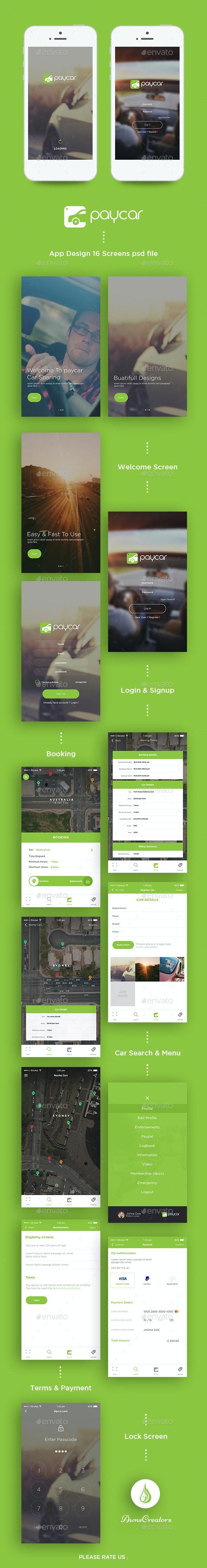 Paycar App UI Kit - User Interfaces Web Elements