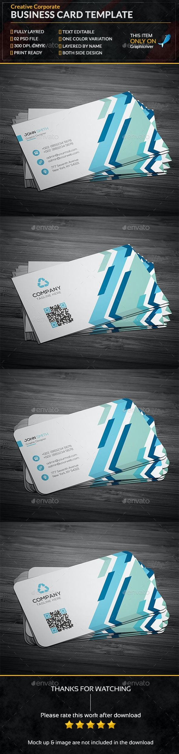 Creative Colorful Business Card Template - Business Cards Print Templates