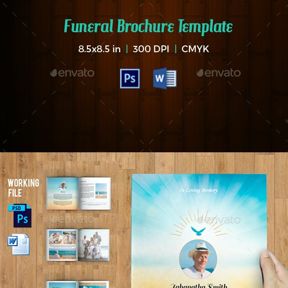 Funeral Program Template / 8 Page Square Booklet