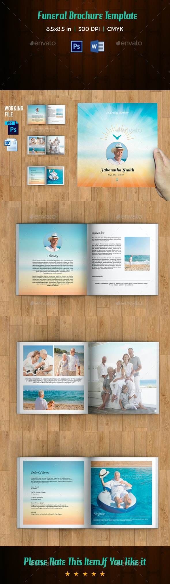 Funeral Program Template / 8 Page Square Booklet - Informational Brochures