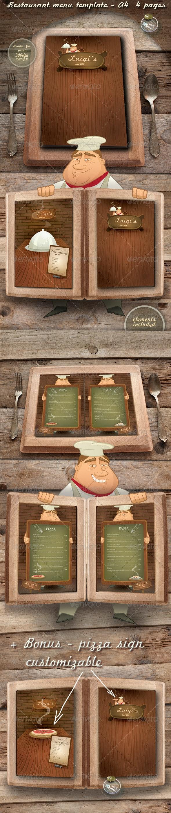Restaurant Menu Templates - Luigi's - Food Menus Print Templates