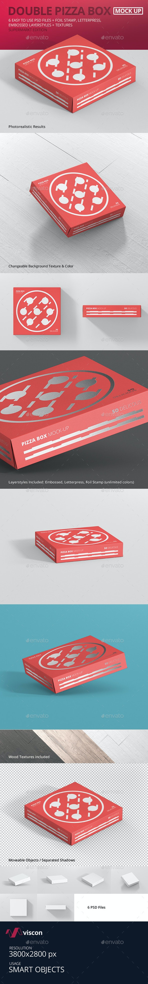 Pizza Box Mockup - Double Pack Supermarket Edition - Food and Drink Packaging