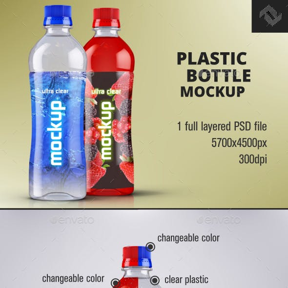 Water Plastic Bottle Mockup