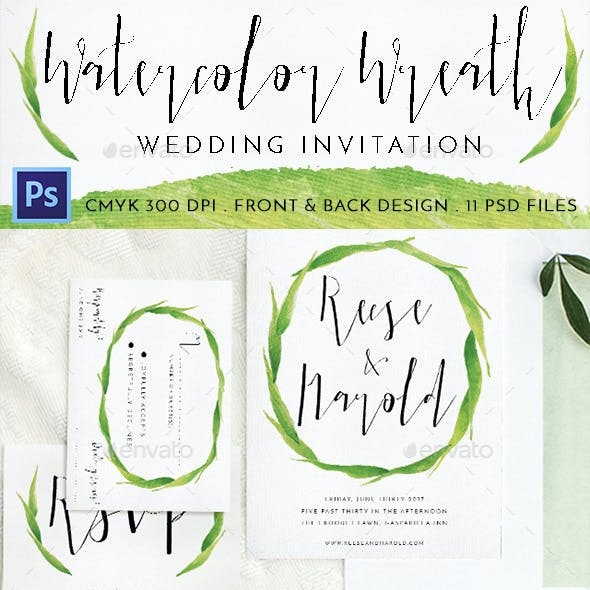Watercolor Wreath Wedding Invitation