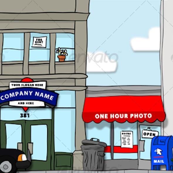 Hand-Drawn City Scene