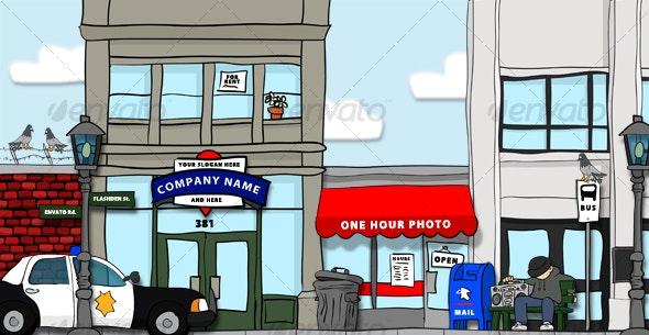 Hand-Drawn City Scene - Scenes Illustrations