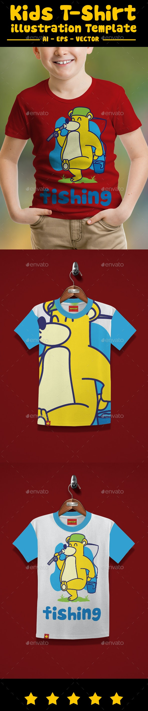Bear Fishing Kids T-Shirt