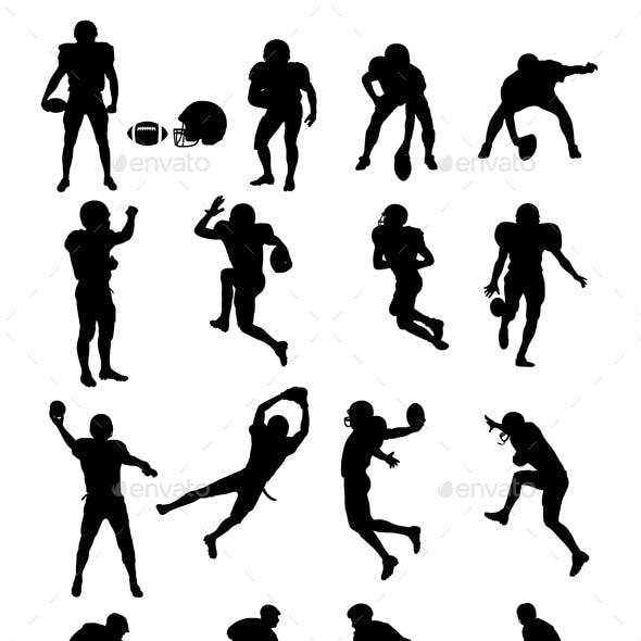 American Football and Hockey Silhouettes
