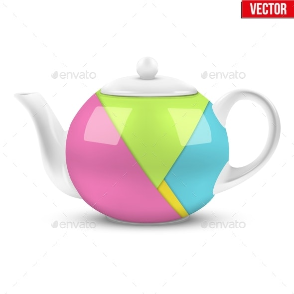 White Ceramic Teapot with Material Design