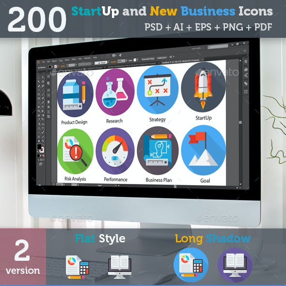 200 Flat Style Icons - StartUp and New Business